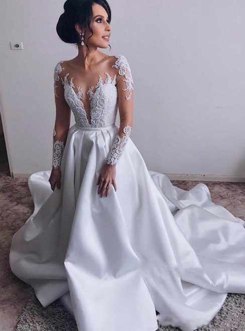Illusion Long Sleeve Satin Sweep Train Romantic Sheer Lace Wedding Dress