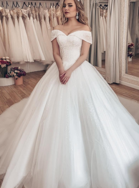 White Ball Gown Tulle Off the Shoulder Neckline Beading Wedding Dress