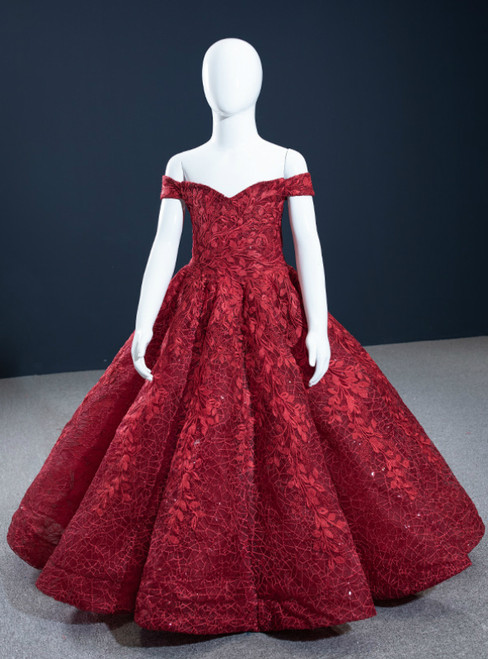 Burgundy Ball Gown Lace Off the Shoulder Flower Girl Dress