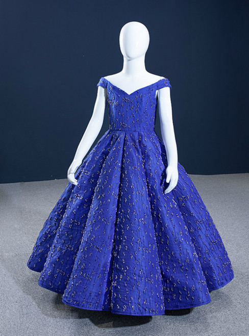Royal Blue Ball Gown Off the Shoulder Beading Flower Girl Dress