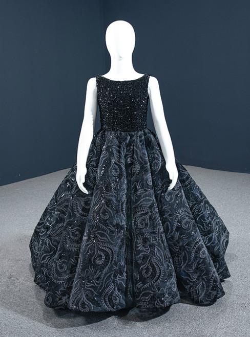 Black Ball Gown Sequins Beading Bateau Flower Girl Dress