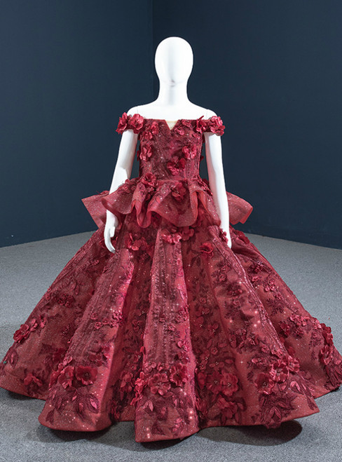 Burgundy Ball Gown Tulle Appliques Off the Shoulder Flower Girl Dress