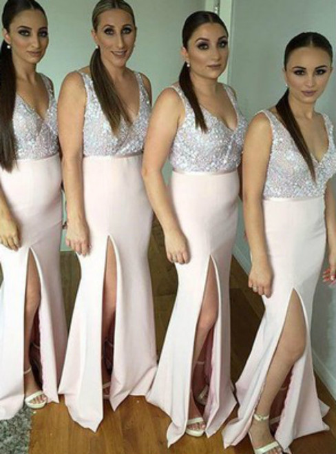 Long V Neck Bridesmaid Dresses Beaded Sequin Bridesmaid Dresses