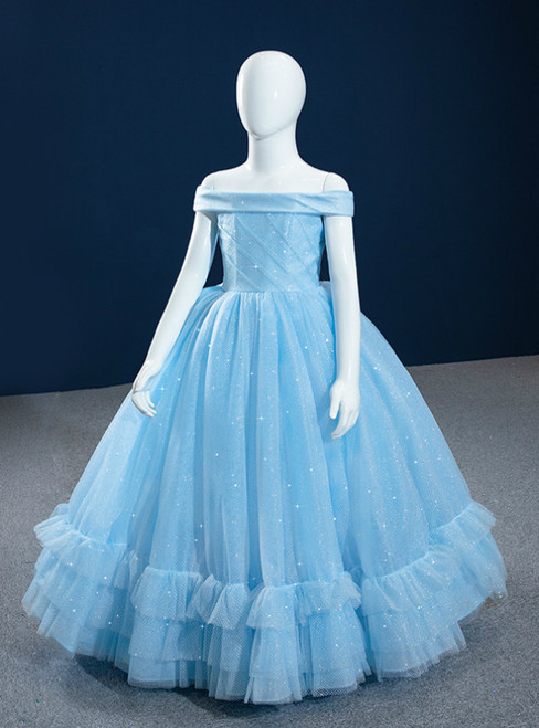 Blue Ball Gown Tulle Off the Shoulder Sequins Flower Girl Dress
