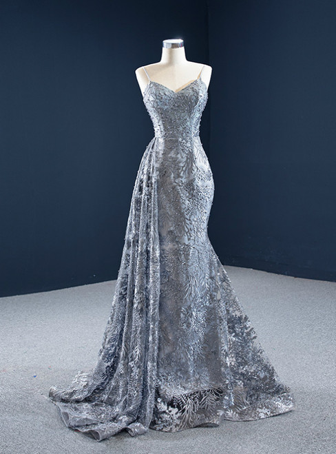 Gray Mermaid Tulle Embroidery Spagehtti Straps Pearls Prom Dress