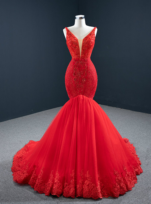 Red Mermaid Tulle Off the Shoulder Appliques Beading Prom Dress