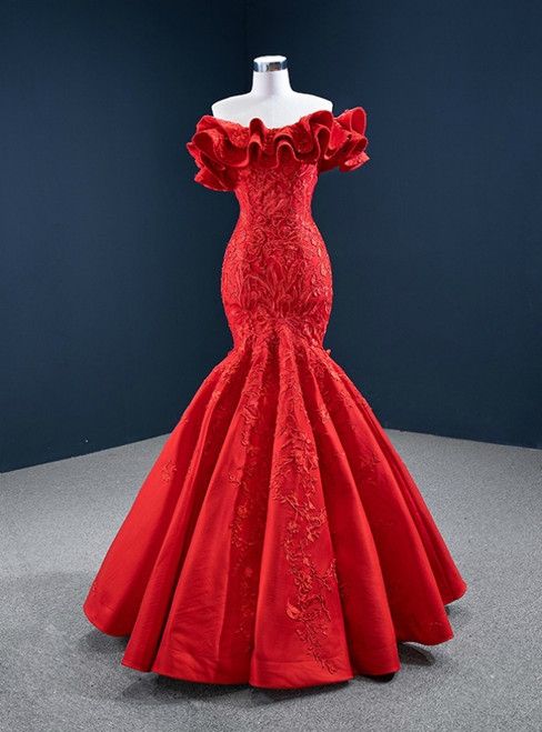 Red Mermaid Satin Off the Shoulder Appliques Ruffles Prom Dress