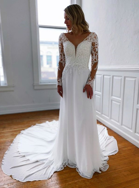 100% Custom Made A-Line Chiffon Appliques V-neck Long Sleeve Backless Wedding Dress