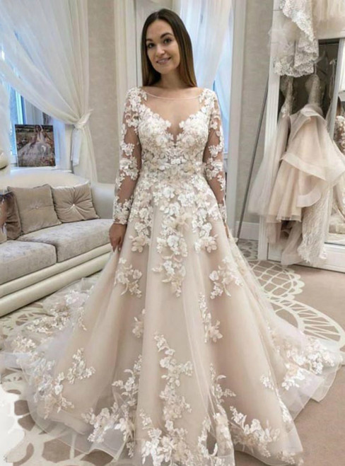 A-Line Champagne Tulle Appliques Long Sleeve Wedding Dress