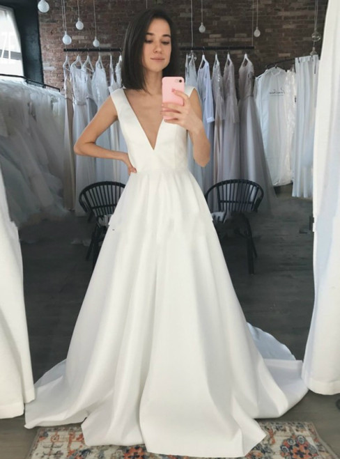Sexy A-Line White Satin Deep V-neck Backless Wedding Dress