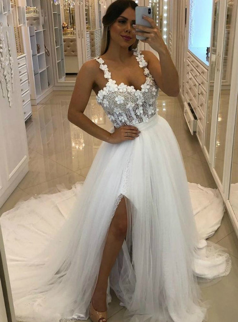 High Quality White Tulle Straps Appliques Beading Wedding Dress With Split