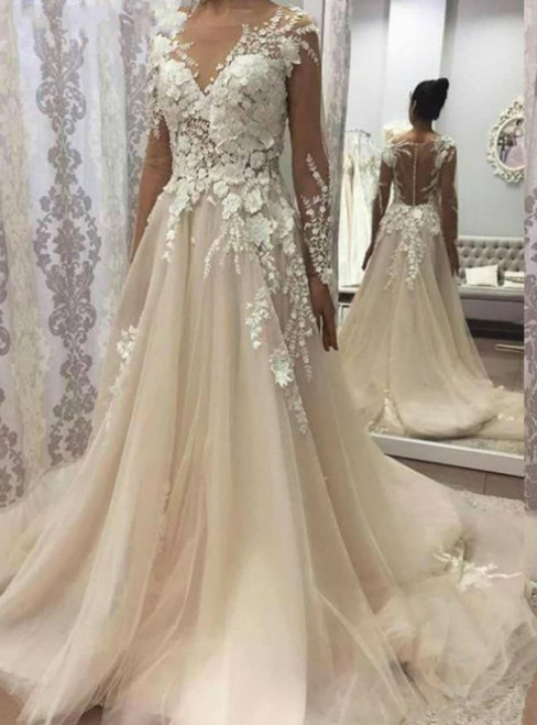 1000+ Styles Ivory Tulle Long Sleeve See Through Appliques Wedding Dress