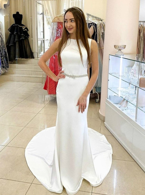Simple White Mermaid Satin Sleeveless Beading Wedding Dress