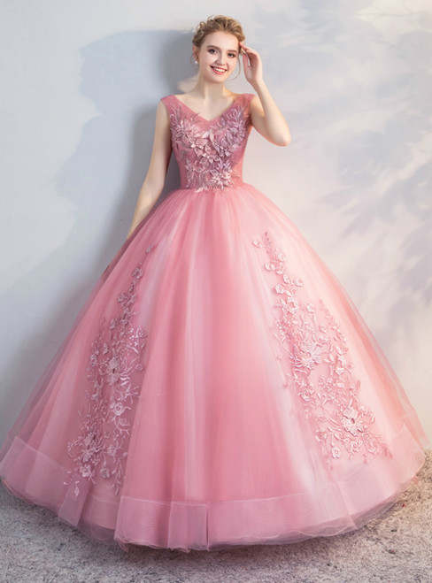 In Stock:Ship in 48 Hours Pink Tulle Appliques V-neck Quinceanera Dress