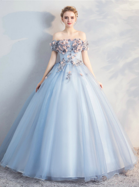 In Stock:Ship in 48 Hours Gray Blue Tulle Off the Shoulder Appliques Quinceanera Dress