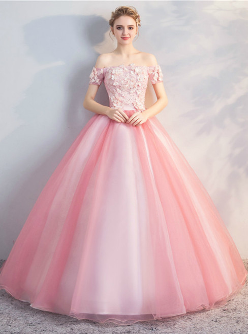 In Stock:Ship in 48 Hours Pink Tulle Off the Shoulder Quinceanera Dress