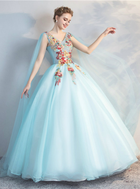 In Stock:Ship in 48 Hours Blue Tulle V-neck Embroidery Appliques Quinceanera Dress