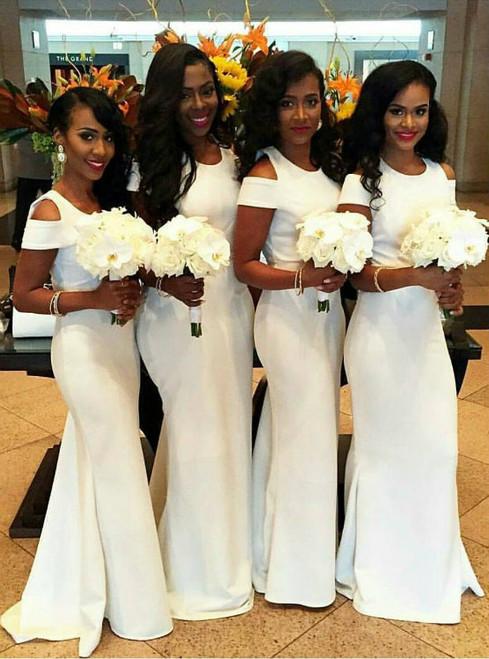 Charming Bridesmaid Dress White Prom Dress Sheath Prom Dress