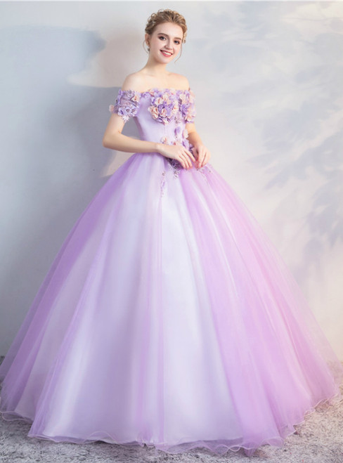 In Stock:Ship in 48 Hours Purple Tulle Off the Shoulder Appliques Quinceanera Dress