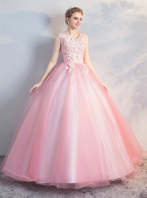 In Stock:Ship in 48 Hours Scoop Appliques Ball Gown Quinceanera Dress
