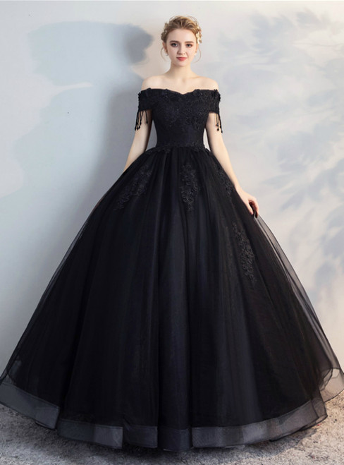 In Stock:Ship in 48 Hours Black Tulle Off the Shoulder Appliques Beading Quinceanera Dress