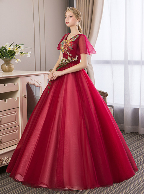In Stock:Ship in 48 Hours Burgundy Tulle V-neck Appliques Quinceanera Dress