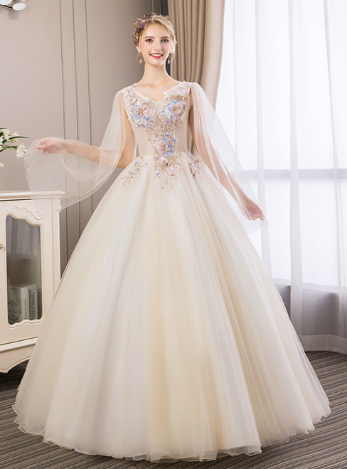 In Stock:Ship in 48 Hours Light Champagne Appliques Quinceanera Dress