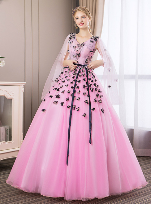 In Stock:Ship in 48 Hours Pink Tulle Appliques V-neck Pleats Quinceanera Dress