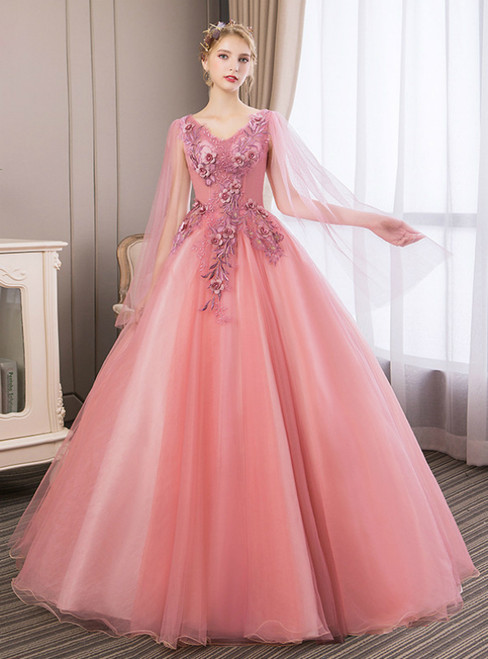 In Stock:Ship in 48 Hours Pink Tulle V-neck Appliques Quinceanera Dress