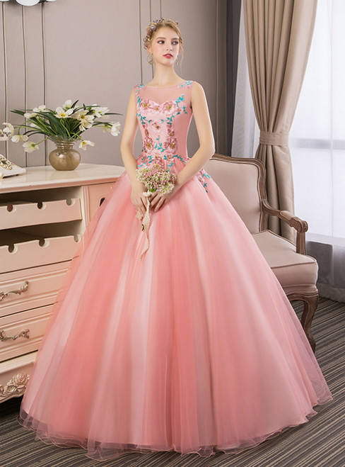 In Stock:Ship in 48 Hours Pink Tulle Appliques Quinceanera Dress