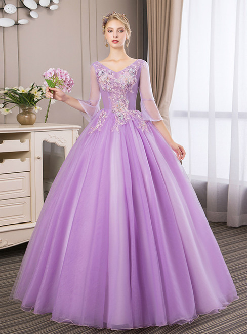 In Stock:Ship in 48 Hours Purple Tulle Appliques Quinceanera Dress