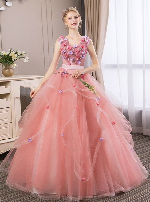 In Stock:Ship in 48 Hours Fashion Pink Tulle V-neck Appliques Quinceanera Dress
