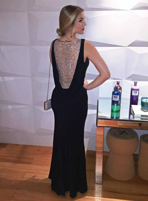 Long Slim Mermaid V neck Evening Dress with Beaded-Illusion Back
