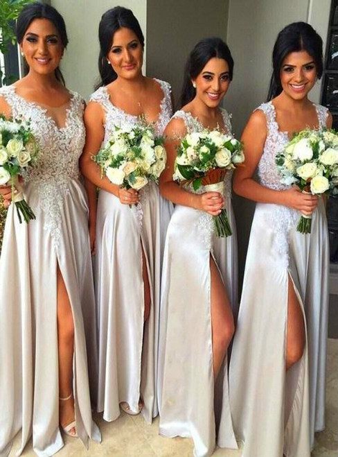 Lace Bridesmaid Dress Split Prom Dress Fashion Bridesmaid Dresses Sexy Party Dress