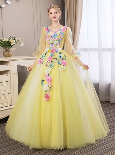 In Stock:Ship in 48 Hours Yellow Tulle Appliques Long Sleeve Quinceanera Dress
