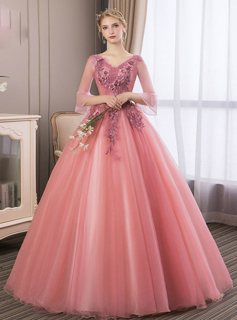 In Stock:Ship in 48 Hours Pink Tulle Appliques Long Sleeve Quinceanera Dress