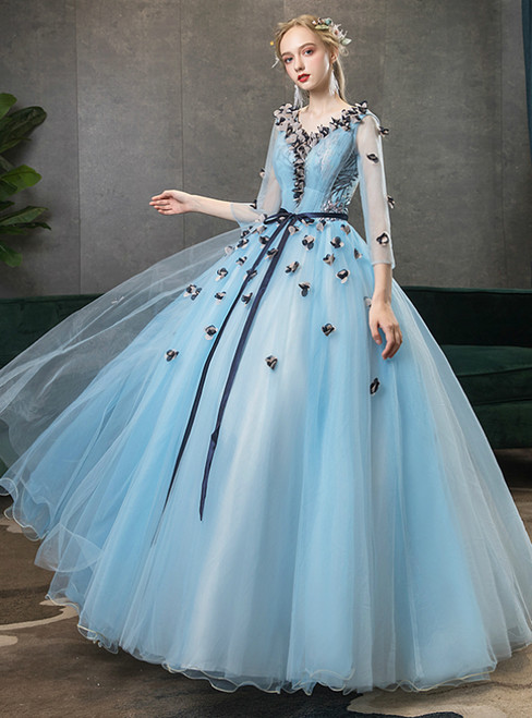 In Stock:Ship in 48 Hours Blue 3/4 Sleeve Appliques Quinceanera Dress