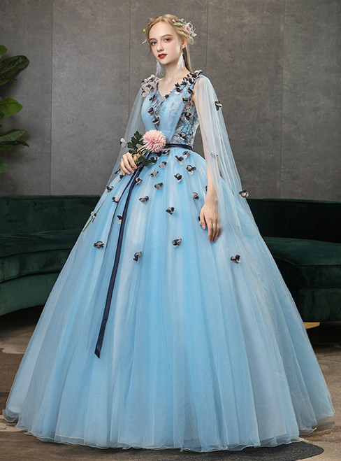 In Stock:Ship in 48 Hours Fashion Blue 3/4 Sleeve Appliques Quinceanera Dress