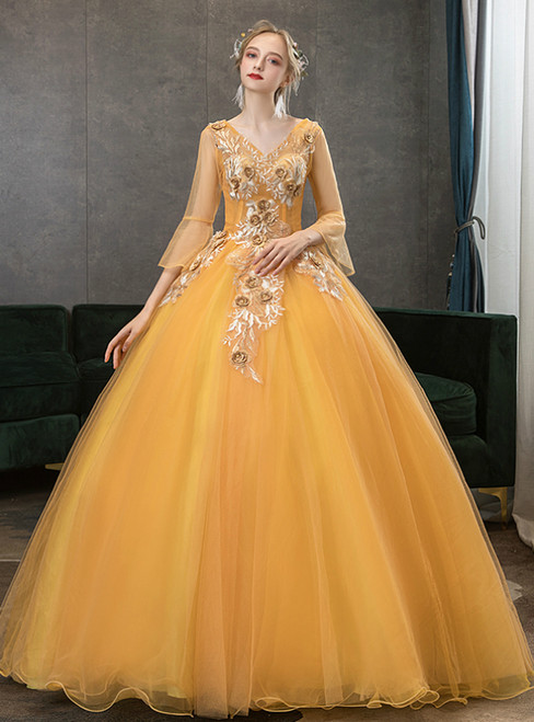 In Stock:Ship in 48 Hour Gold Tulle V-neck Long Sleeve Quinceanera Dress