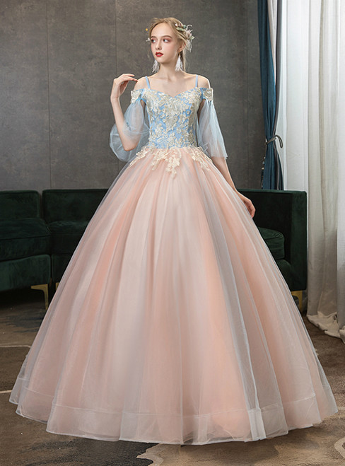 In Stock:Ship in 48 Hours Pink Tulle Appliques Short Sleeve Quinceanera Dress