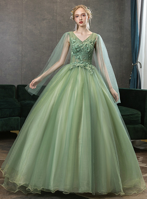 Find All Of The Latest Styles In Stock:Ship in 48 Hours Green Tulle V-neck Appliques Quinceanera Dress
