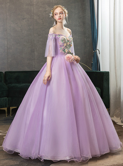 With 1000s Of In Stock:Ship in 48 Hours Purple Tulle Appliques Off the Shoulder Quinceanera Dress