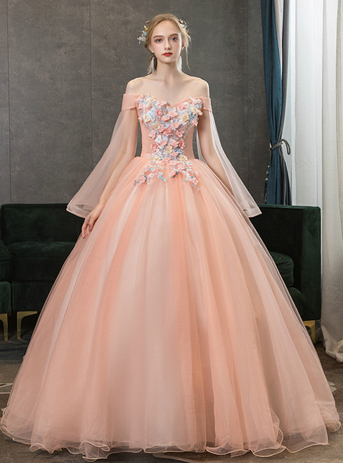 Be The Prom Queen In Stock:Ship in 48 Hours Pink Tulle Appliques Off the Shoulder Quinceanera Dress