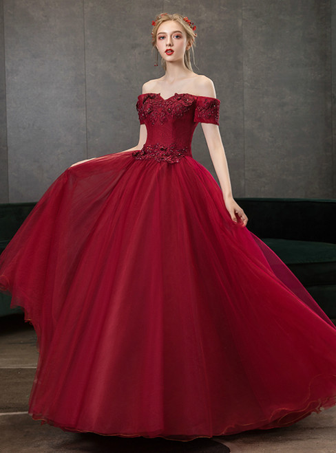 In Stock:Ship in 48 Hours Burgundy Tulle Off the Shoulder Appliques Quinceanera Dress
