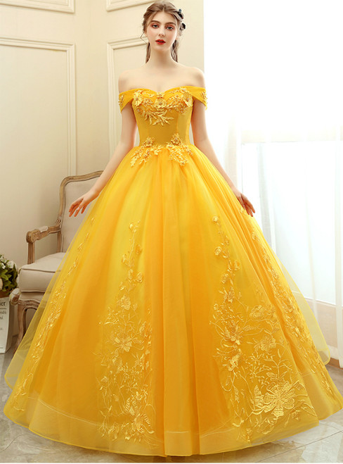 Browse Our Lovely In Stock:Ship in 48 Hours Yellow Tulle Off the Shoulder Appliques Quinceanera Dress
