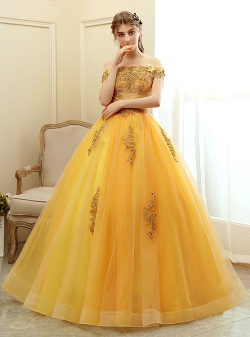 Amazing & Affordable In Stock:Ship in 48 Hours Gold Tulle Appliques Off the Shoulder Quinceanera Dress