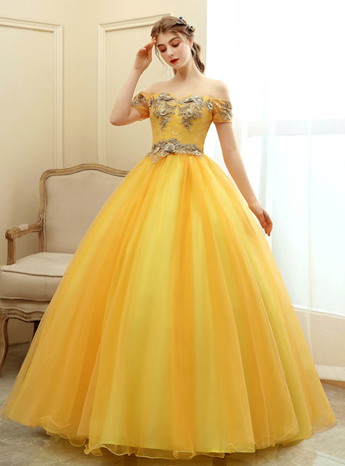We Provide In Stock:Ship in 48 Hours Gold Tulle Off the Shoulder Quinceanera Dress