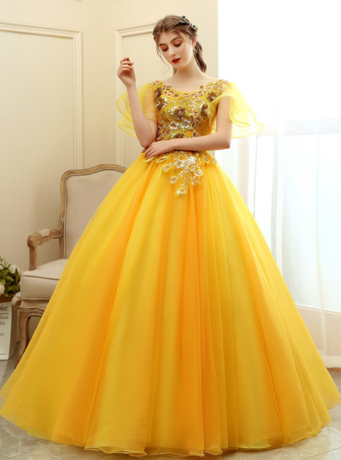 In Stock:Ship in 48 Hours Gold Tulle Appliques Beading Quinceanera Dress