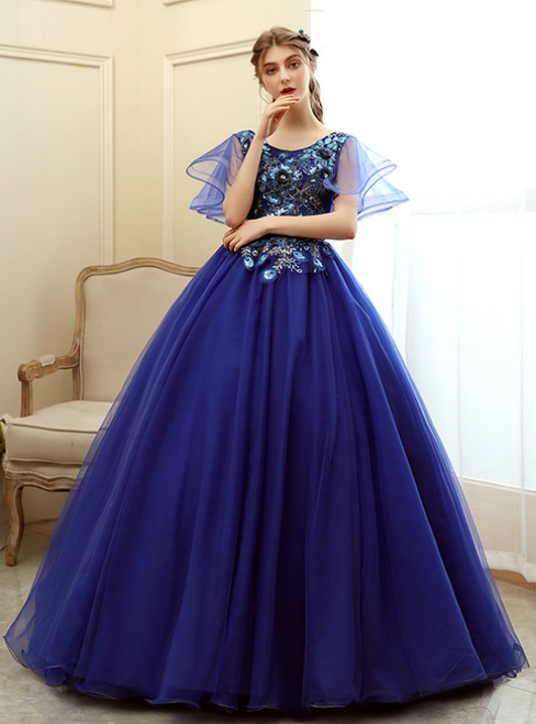 Hottest Items In Stock:Ship in 48 Hours Blue Tulle Appliques Beading Quinceanera Dress