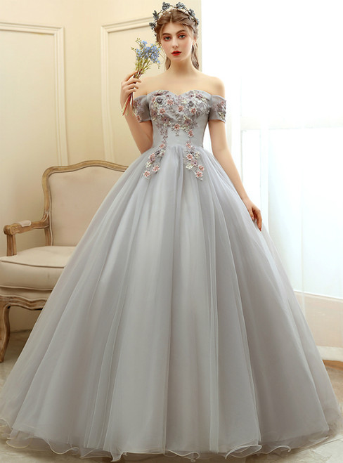 Shop This Selection Of In Stock:Ship in 48 Hours Gray Tulle Appliques Off the Shoulder Quinceanera Dress